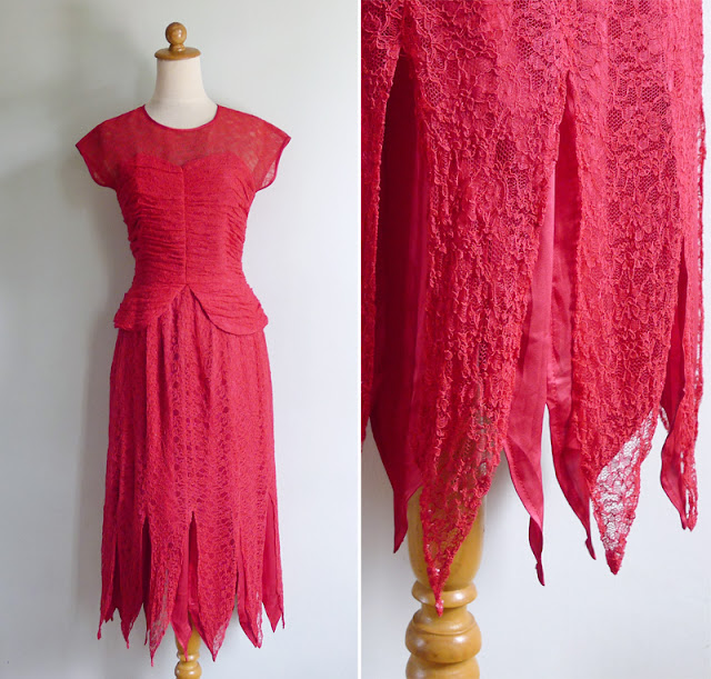 vintage bustier peplum lace dress