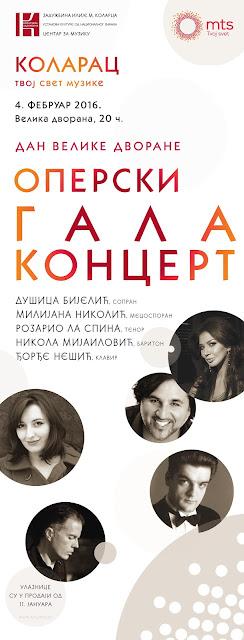 Operski gala koncert na Dan Velike dvorane Kolarčeve zadužbine