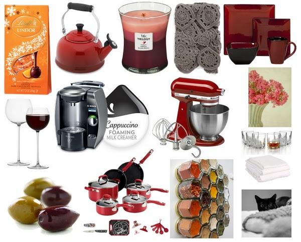 lindor truffles, kettle, candle, blanket, dinnerware, tall stem wine glasses, tassimo, kitchenaid, flowers, whiskey, olives, pots, spices, cat