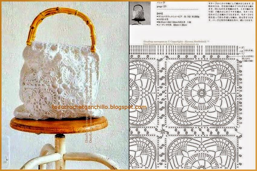 Patrón de bolso tejido al crochet con squares y manijas de caña