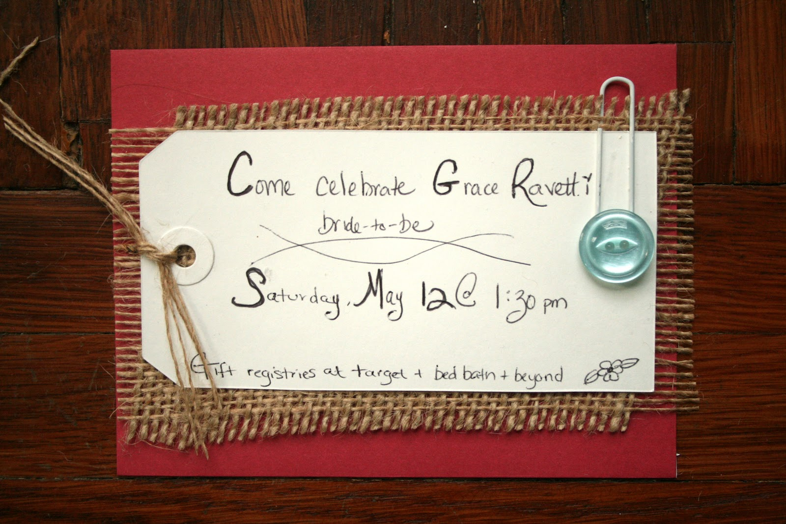 Today Is My Favorite: Buttons and Burlap: DIY Bridal Shower Invitations