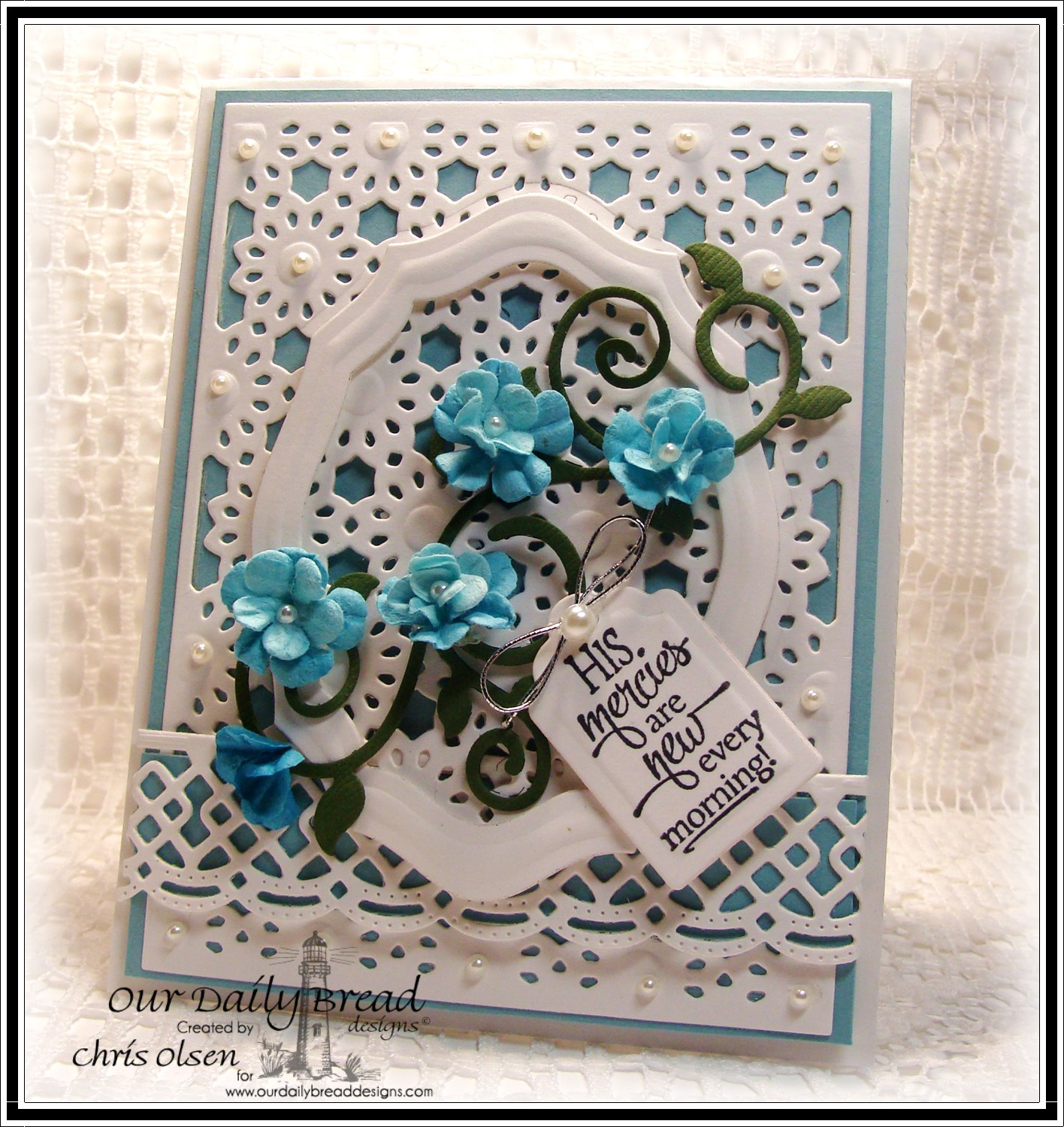Stamps - Our Daily Bread Designs Sentiment Collection 3, ODBD Custom Fancy Foliage Dies, ODBD Custom Daisy Chain Background Die, ODBD Custom Beautiful Borders Dies, ODBD Elegant Oval Die, ODBD Custom Recipe Card and Tags Dies