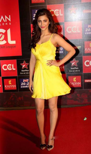 Shruti Hassan in Yellow Mini Frock