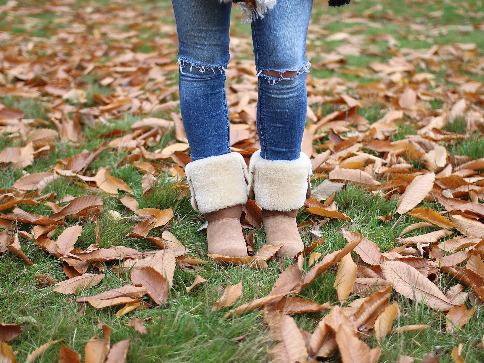 rolled ugg boots for a more casual feel, sheep skin boots