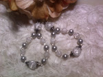 White & Silver Hoop Earrings Cracked Glass Beads