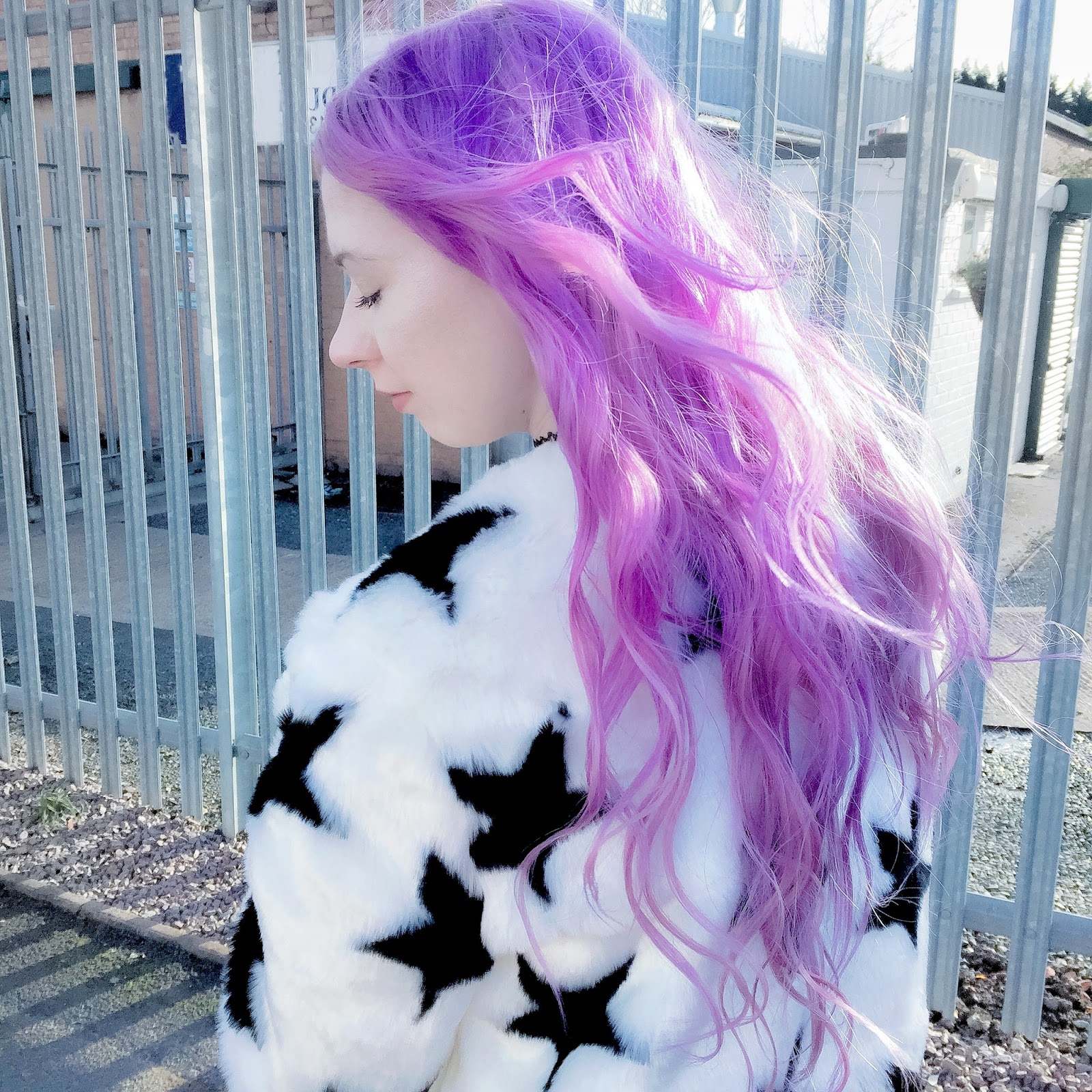 PURPLE HAIR AND FLUFFY STAR FAUX FUR