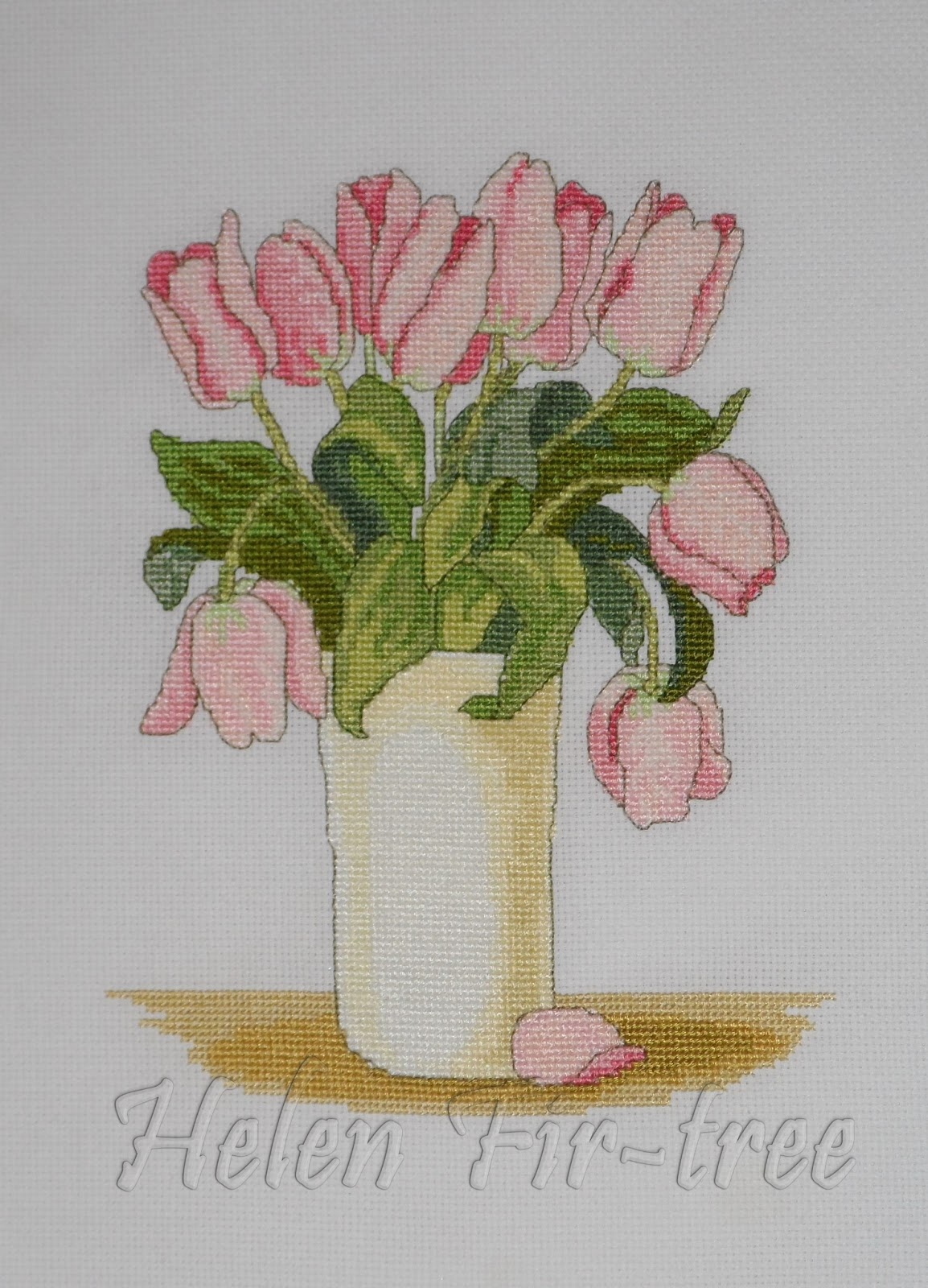 Helen Fir-tree вышивка крестом Tulips in a Vase counted cross stitch