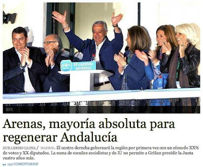 Portada web de ABC con la falsa mayoría absoluta del PP