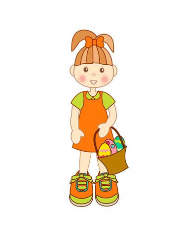 niña con cesto de huevos de pascua