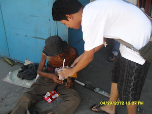 Actual Street children and beggars feeding