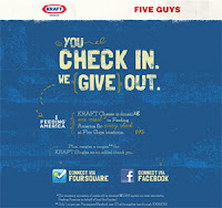 Kraft Five Guys foursquare mobile check-in donation