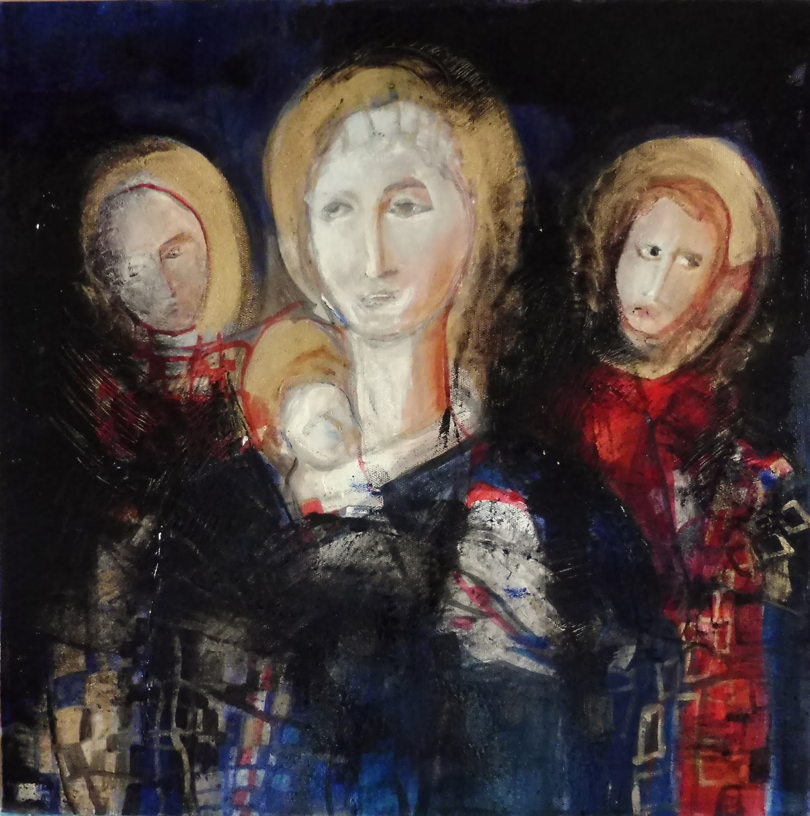 Vierge à l'enfant entre Saint Antoine et Jean Baptiste - 40 x 40 cm - 2020
