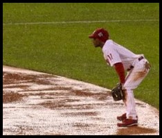 Jimmy Rollins playing the field during the rains of Game 5 of the 2008 World Series