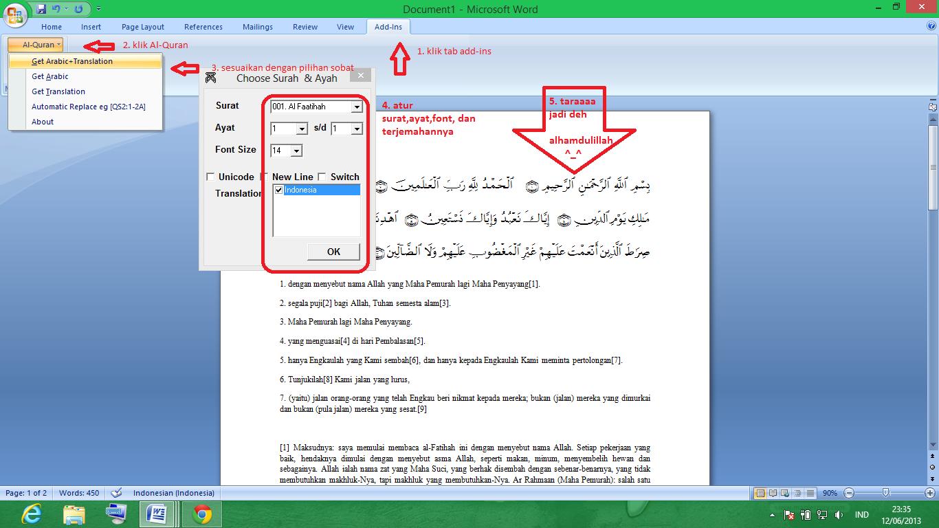 Download Plugin AlQuran untuk Ms-Word