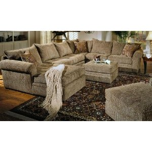 Etonnant Beige Chenille Fabric Westwood Sectional Sofa Couch With Coffee Table  Ottoman