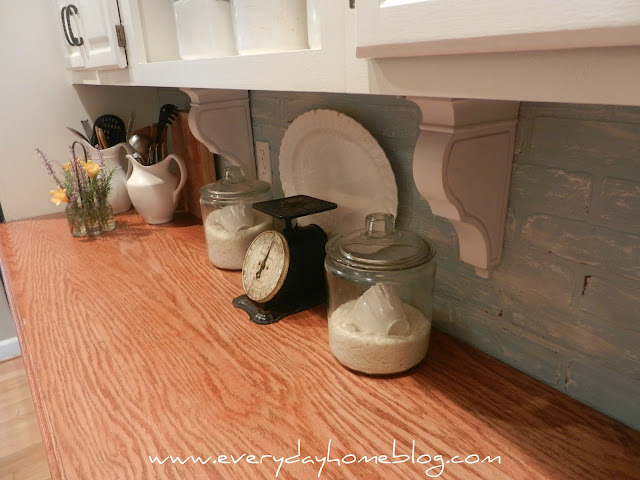 white kitchen, white cabinets, corbels, faux, backsplash, brick, paint, Annie Sloan Chalk Paint, faux brick