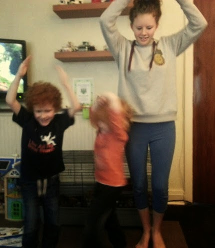 children acting as balerinas playing a game