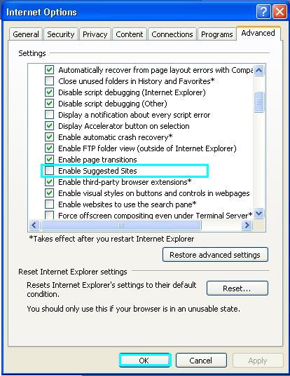 Internet Explorer Support: How to Disable and Remove Suggested Sites