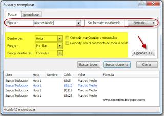 La herramienta Buscar y Reemplazar: Buscar Todos en Excel.