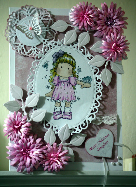 Magnolia Tilda Christmas card with pretty pink Heartfelt Creations delicate asters pearls and ribbon