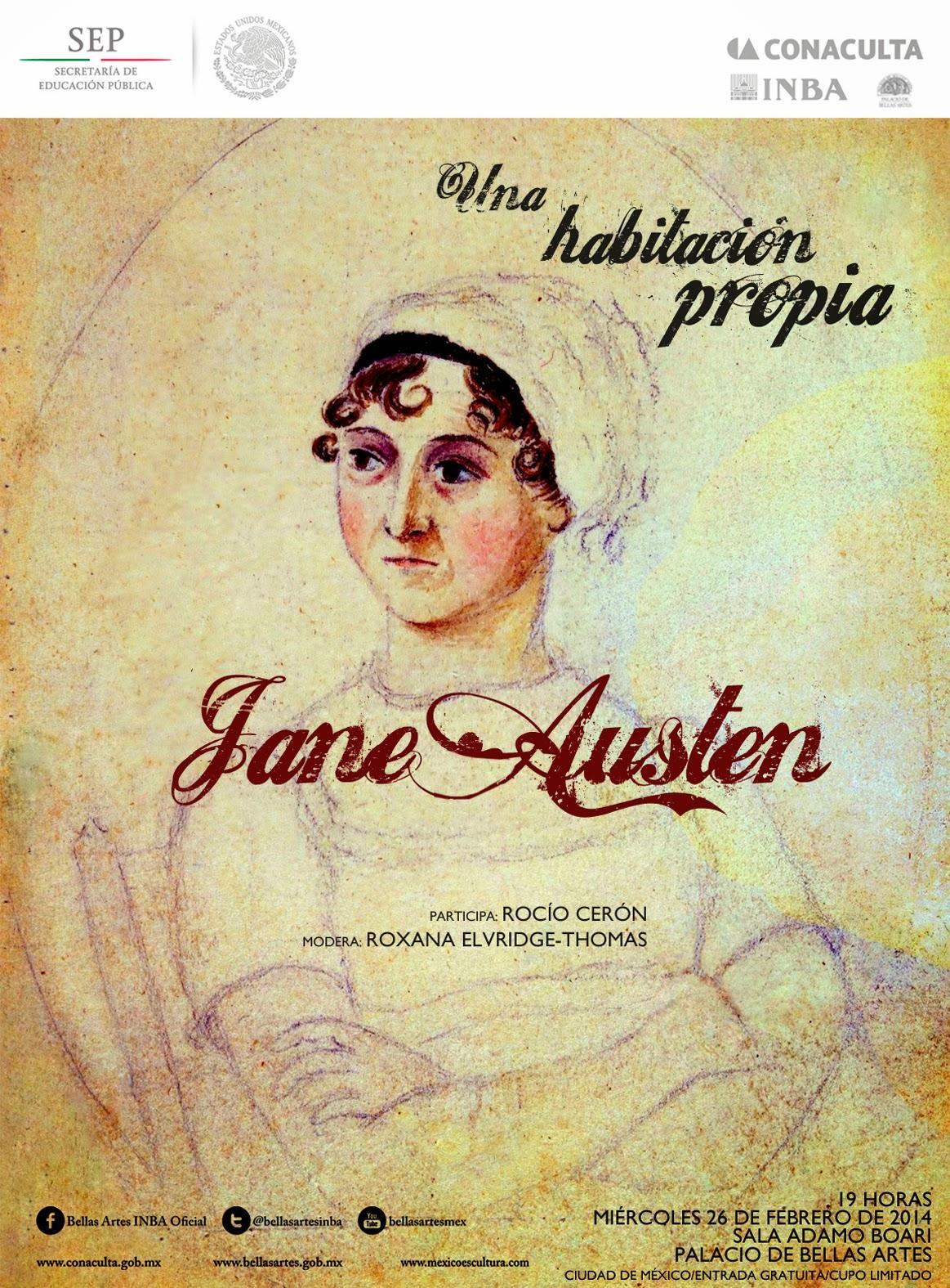 """El ciclo """"Una habitación propia"""" presenta a Jane Austen en el Palacio de Bellas Artes"""