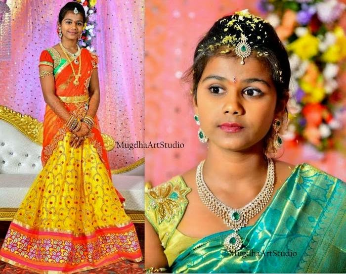 Girl in Yellow Orange Half Saree