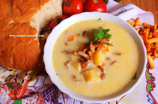 Нежный суп с лисичками