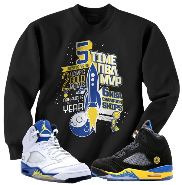 Crewneck Sneaker Shirts for the Jordan Retro 5 Laney Shoes | Jordan Sneaker Tee Shirts to Match