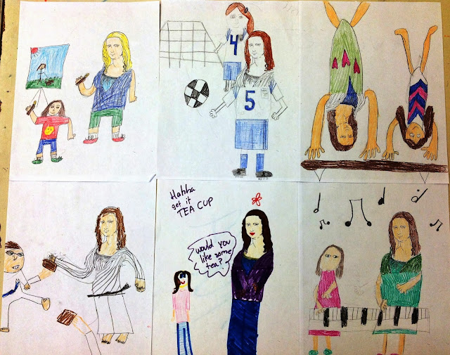 4th Grade Day with Mona Lisa Drawings