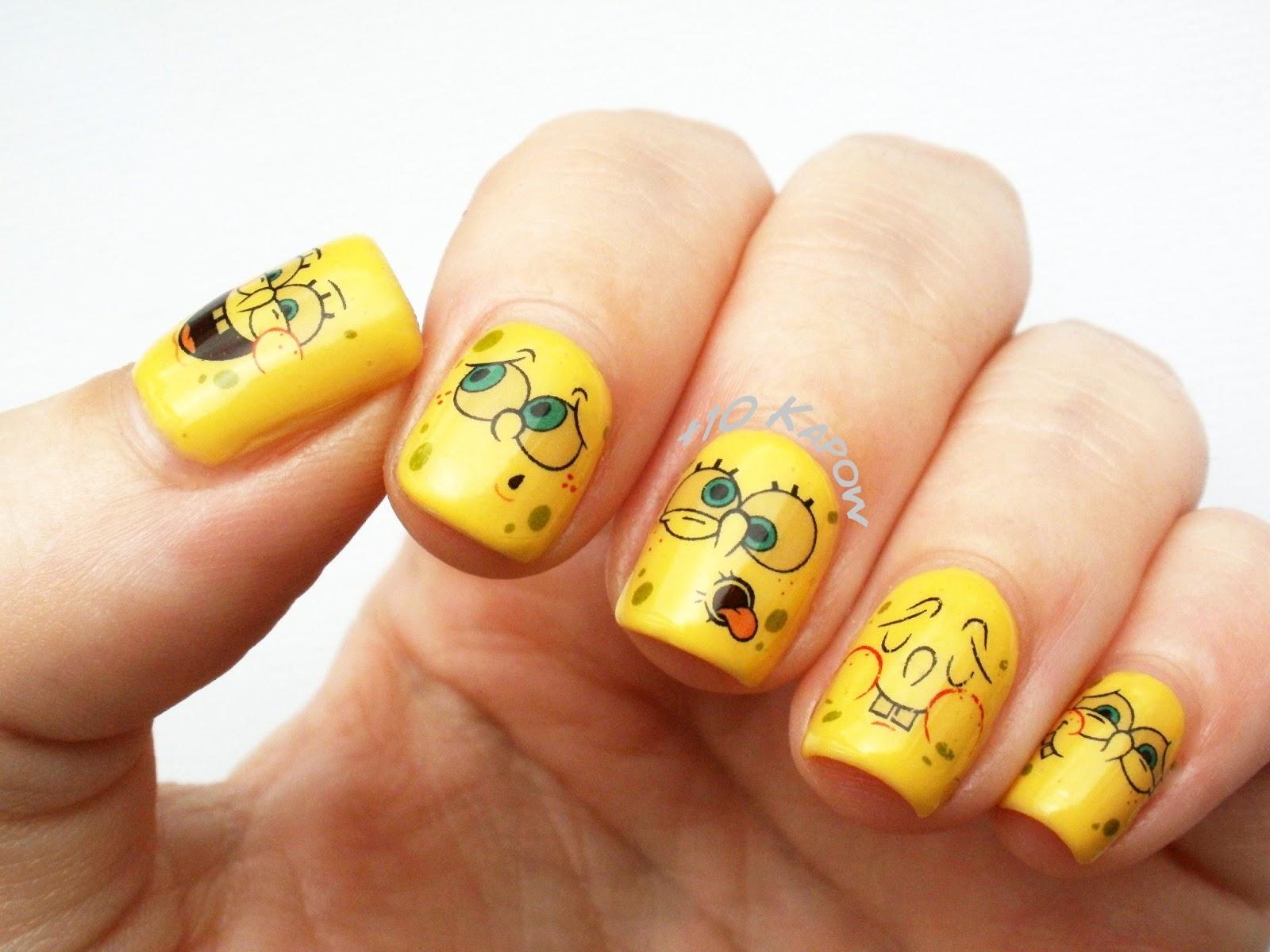 PlusKapow Spongebob Squarepants Nails - Spongebob nail decals
