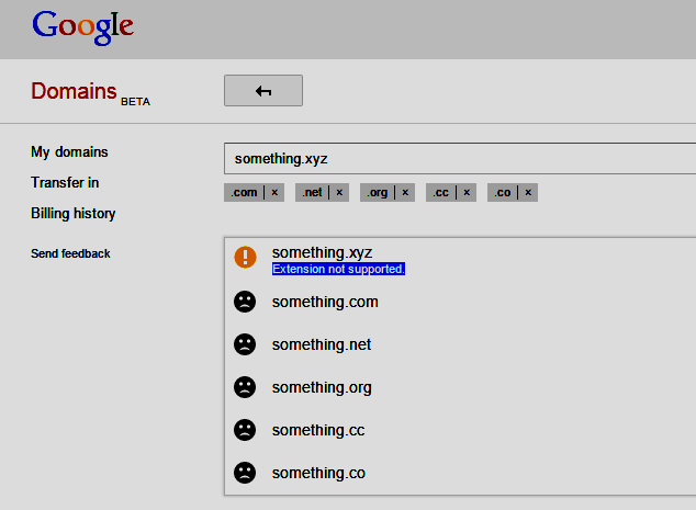 screenshot showing Google Domains does NOT support .XYZ domain names