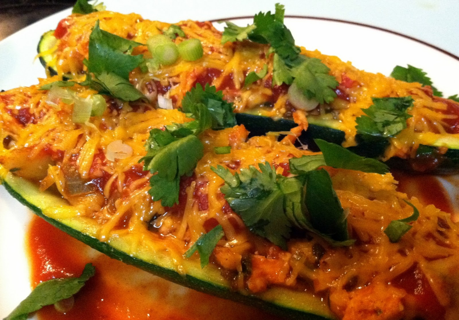 One Couple's Kitchen: Chicken Enchilada Stuffed Zucchini Boats