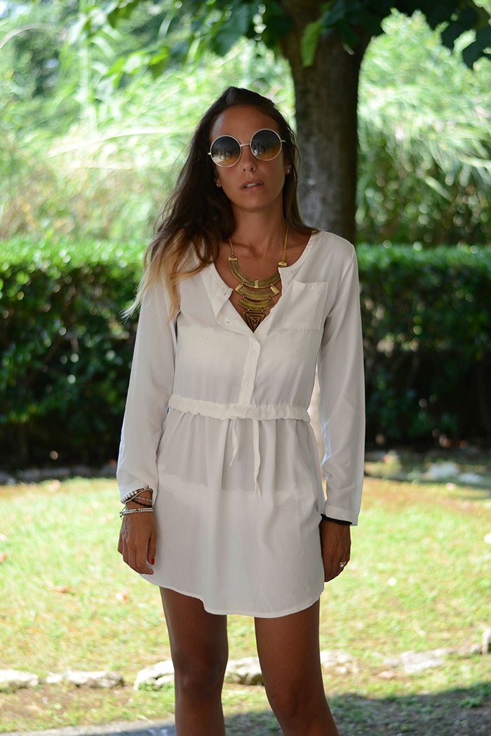shirt dress boho necklace
