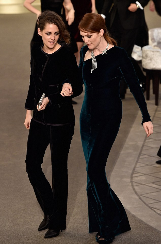 Kristen Stewart in a velvet suit at the Chanel Couture Fall 2015 Paris Fashion Week Show