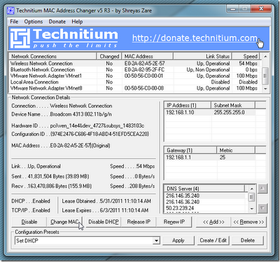 Ubah MAC Address Jaringan Dengan Technitium MAC Address Changer