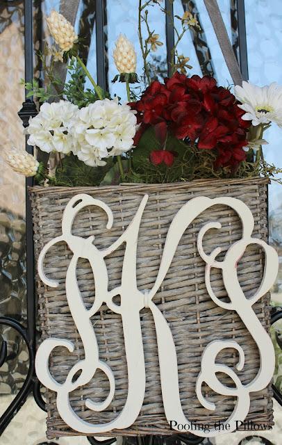 monogrammed door hanging basket