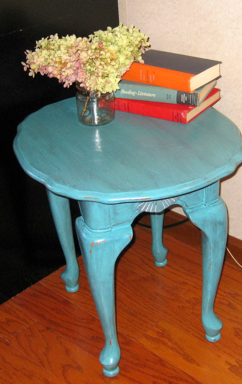 This Sturdy End Table Is All Dressed Up In Teal Zeal By Behr, Lightly  Distressed And Then Antiqued With A Graphite Glaze.