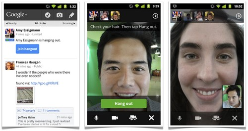 Google Plus updated with Hangouts on Android 2.3+ devices