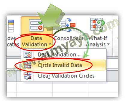 Gambar: Menampilkan lingkaran pada data yang masih salah