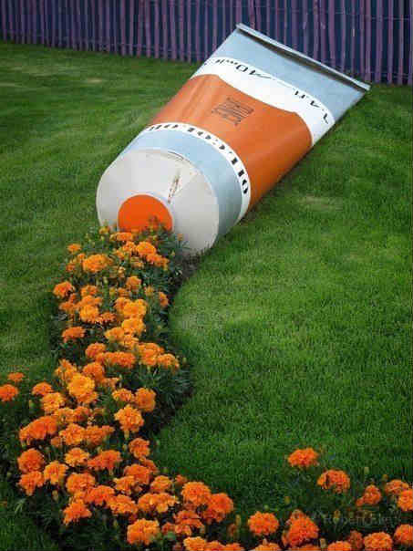Garden decoration ideas, Creative garden decoration, tooth paste tube shape garden design, ultimate garden design, New garden decoration ideas, Flowers paste garden decoration, Interesting garden pics