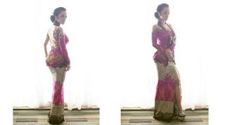Model Kebaya Wisuda Artis Julia Perez Nuansa Pink Fuschia Motif Emas