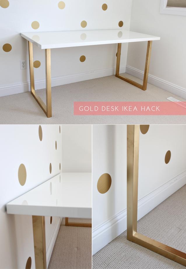 honey we 39 re home gold desk ikea hack. Black Bedroom Furniture Sets. Home Design Ideas