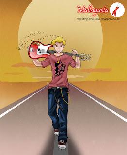 Xaveco na estrada com guitarra