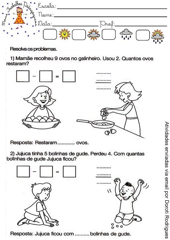 Meus Trabalhos Pedagógicos Atividades De Subtração Problemas