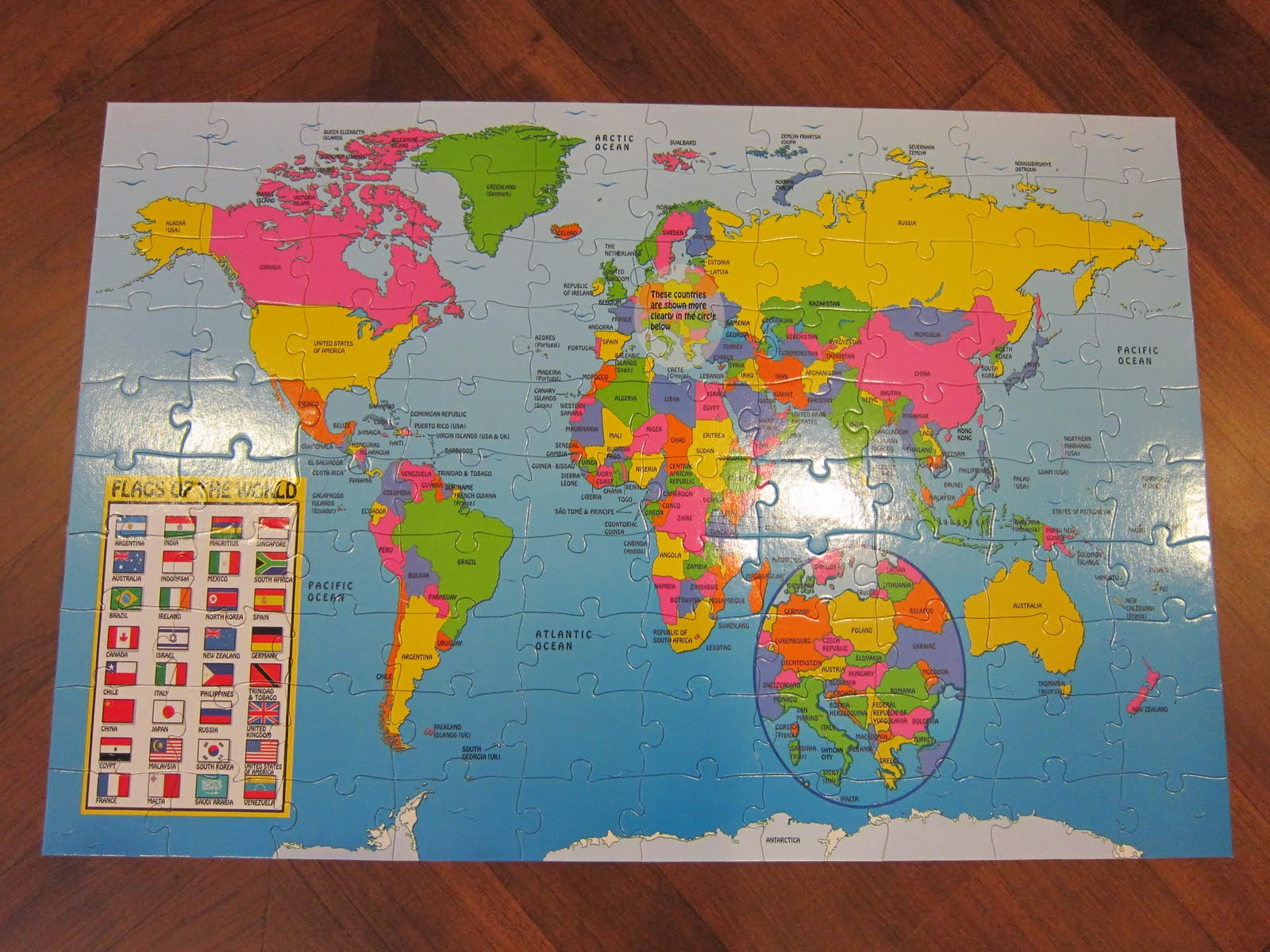 The pig and rabbit world map puzzle completed as i mentioned before its not easy for a three and a half year old to complete this puzzle which has 100 pieces each piece has mostly the same colour gumiabroncs Images
