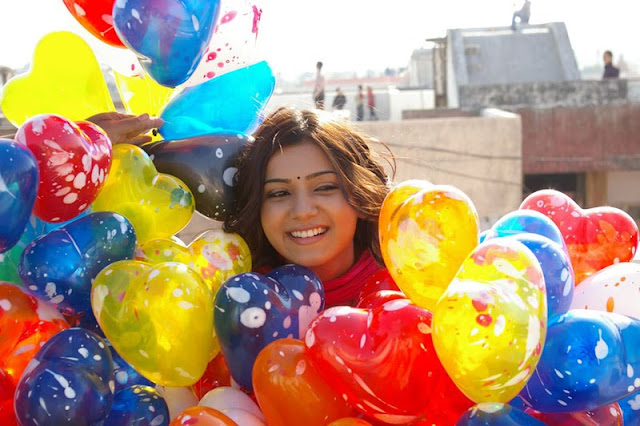 samantha with colorful balloons cute stills