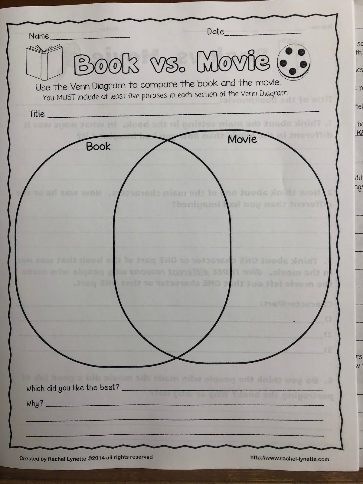 7 black ela book vs movie due monday the listing on the venn diagram the book vs movie sheet is pictured below in the comment section please tell us your favorite part of the movie ccuart Choice Image