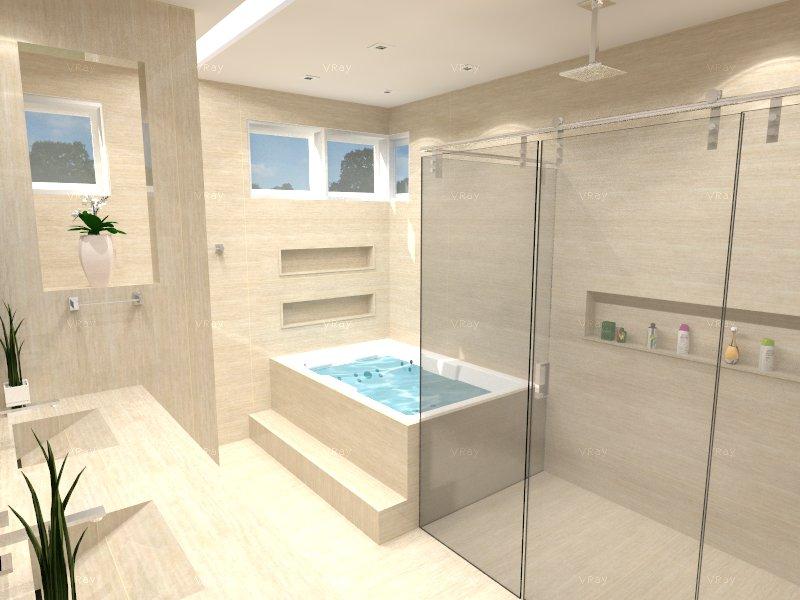 Minha Casa em Vinhedo Projeto  Banheiro Suíte do Casal -> Banheiro Suíte Decorado