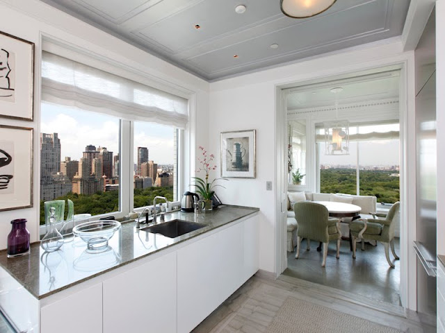 alternative view of the kitchen that shows the window with a view of Central Park