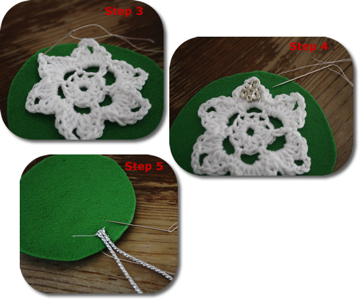 DIY Christmas ornament - crochet and felt